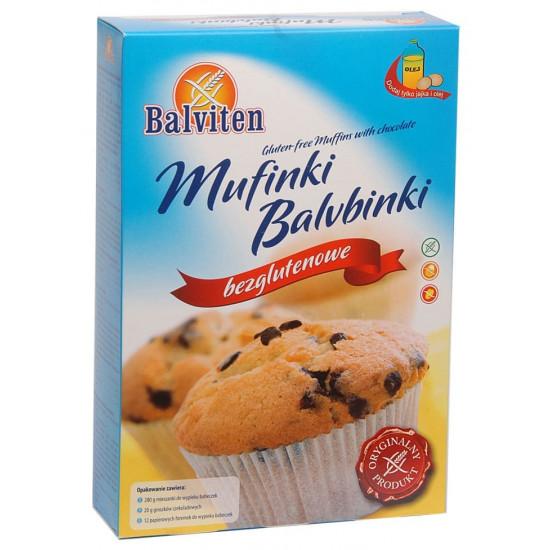 """Безглутенова смес за приготвяне на мъфини """"Balviten"""" 280 г с 12 броя форми за печене и парченца шоколад"""