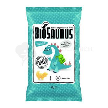БИО Царевичен чипс с морска сол печен BioSaurus 50гр.
